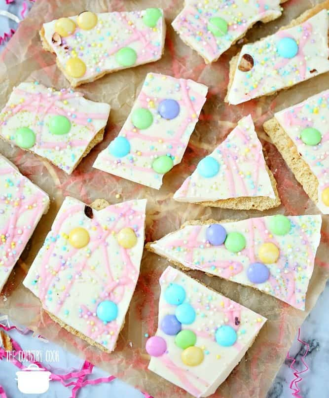 Pastel M&M coated spring candy bark with graham crackers
