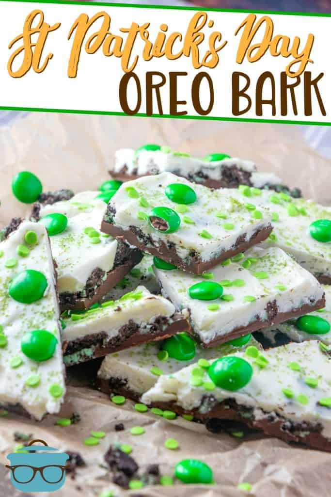 St. Patrick's Day No-Bake Oreo Bark recipe from The Country Cook