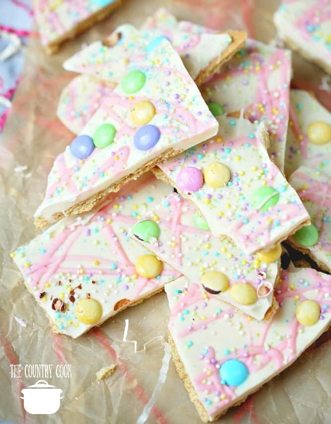 Easter No Bake Candy Bark with white chocolate, pastel M&M's and sprinkles