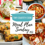 Meal Plan dinner recipes include: Instant Pot Italian Stuffed Peppers, Crock Pot Chunky Beef & Potato Stew, Crock Pot Pork Carnitas, Quick and Easy Vegetable Beef Soup, Crock Pot Whole BBQ Chicken, Crock Pot Ravioli and Bisquick Burrito Bake