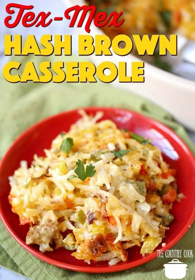 Tex Mex Sausage Hash Brown Casserole recipe from The Country Cook