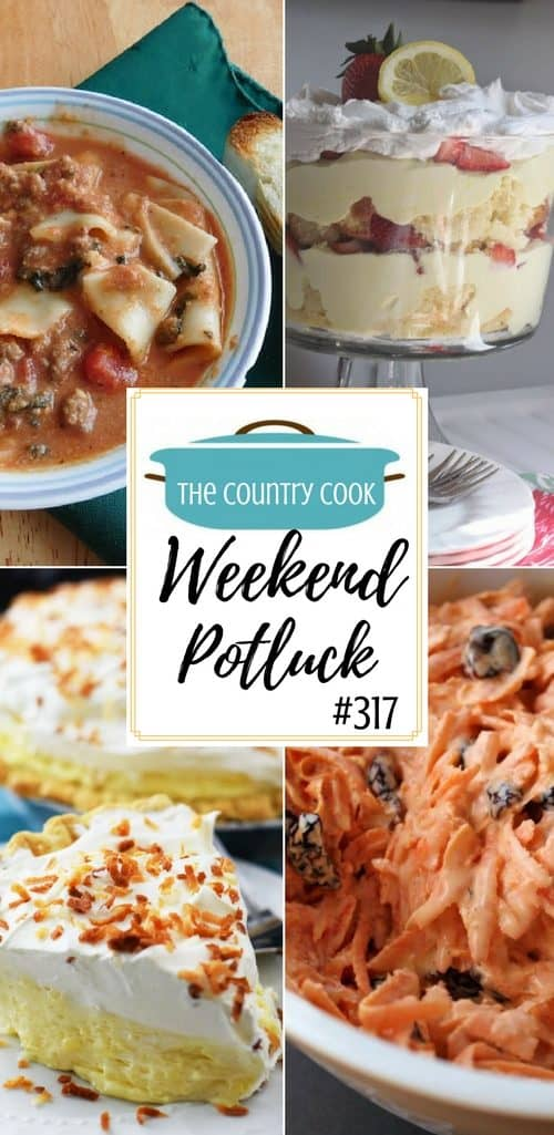 Featured recipes at Weekend Potluck include: Easy Coconut Cream Pie, Carrot Raisin Salad, Lasagna Soup, Double Chocolate Cake, Lemon Berry Trifle #potluck #recipes #ideas #dinner #desserts