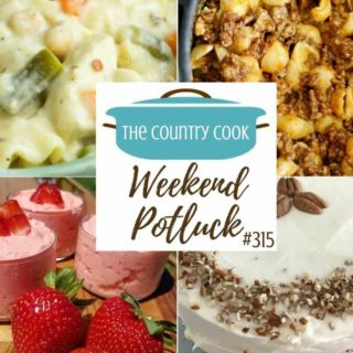 Featured recipes at Weekend Potluck include: Hoosier Sugar Cream Pie, No Bake Strawberries & Cream Salad, Chicken Pot Pie Lasagna Soup, Italian Cream Cake and Easy Taco Macaroni and Cheese