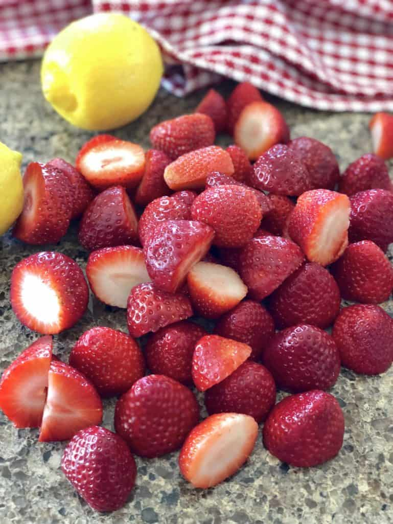 freshly sliced strawberries