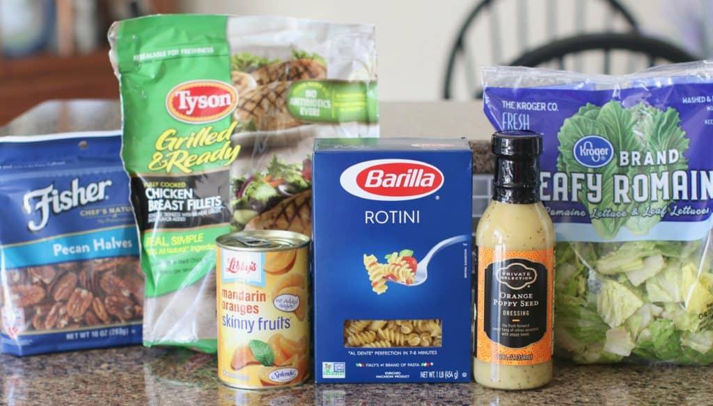 grilled chicken, pecans, lettuce, rotini pasta, mandarin oranges, poppyseed dressing