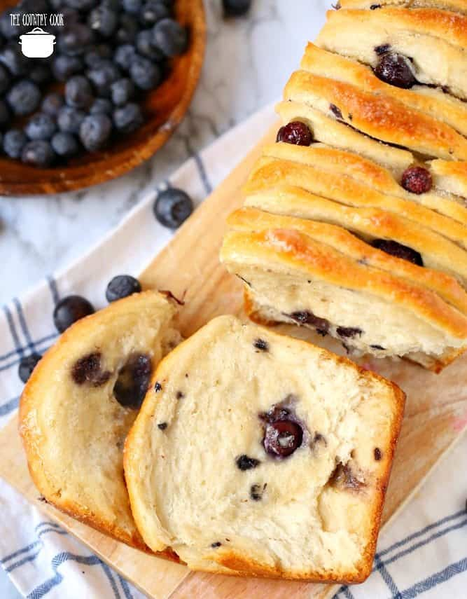 Blueberry Pull Apart Bread, with fresh blueberries, slices