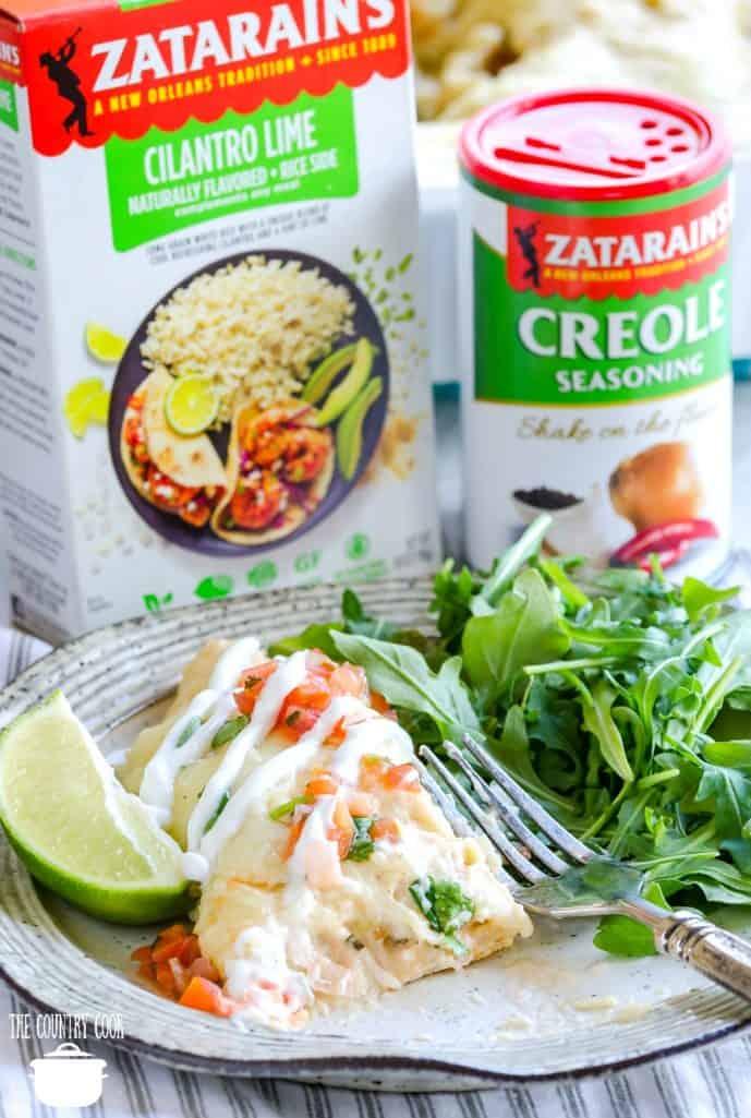 Easy Creamy Shrimp Enchiladas with Zatarain's Cilantro Lime Rice and Creole Seasoning