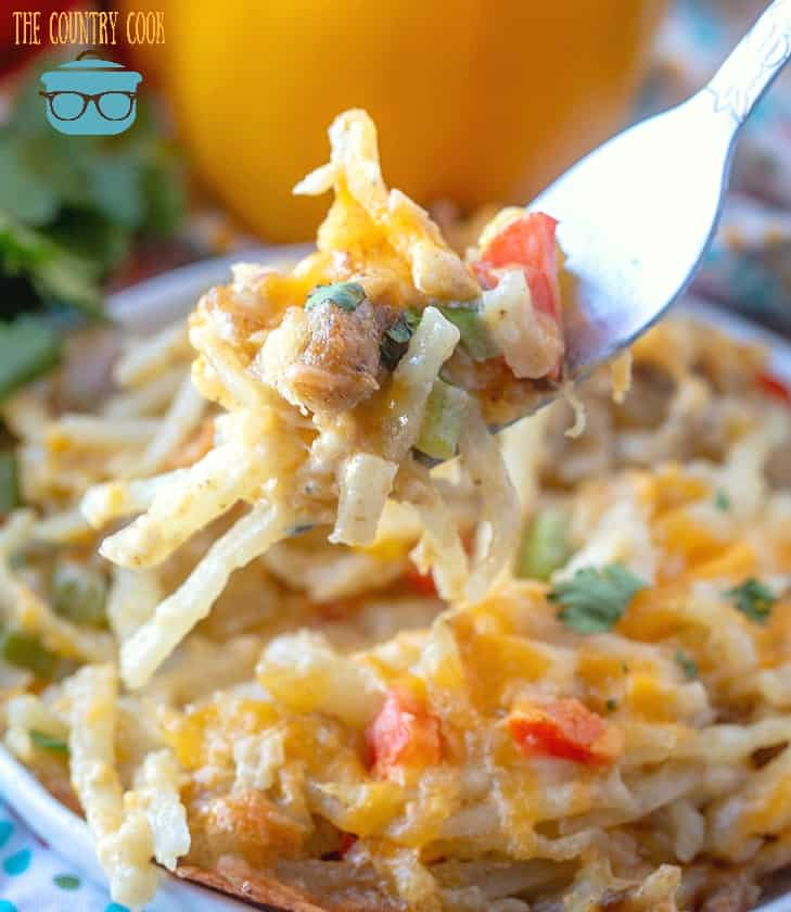 Easy Hash Brown Casserole with peppers and sausage