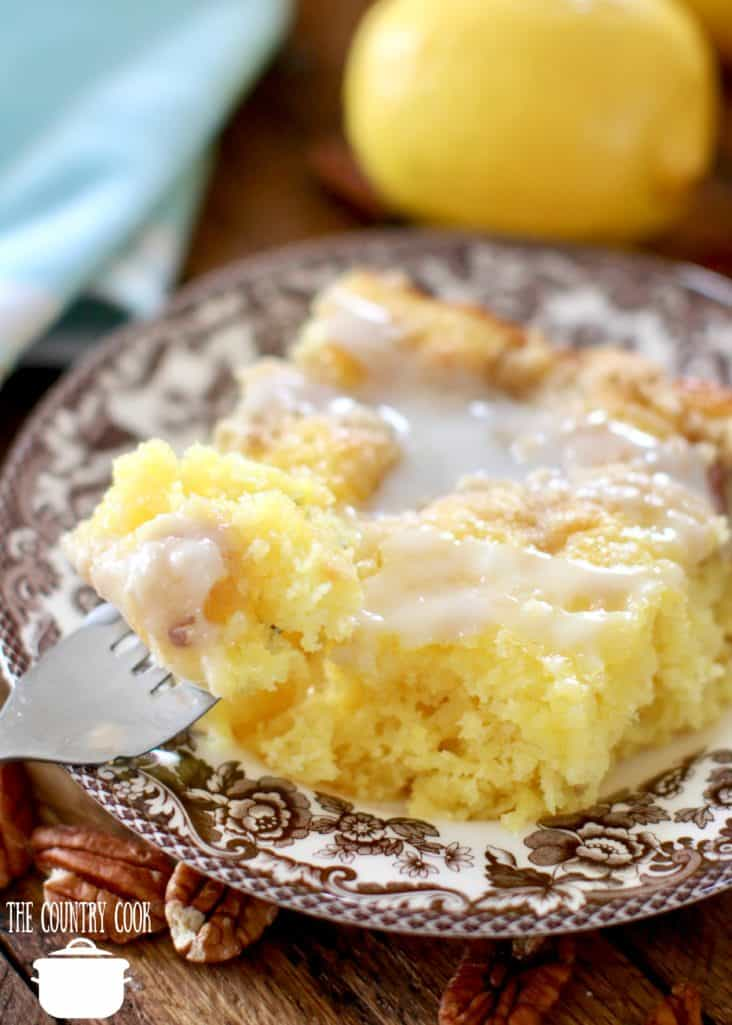 Easy Pineapple Crumb Cake made with lemon cake mix and crushed pineapple
