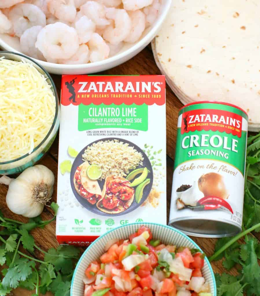 fresh shrimp, mozzarella cheese, pico de Gallo, flour tortillas, cilantro, Zatarain's Cilantro Lime Rice, Zatarain's Creole Seasoning, garlic
