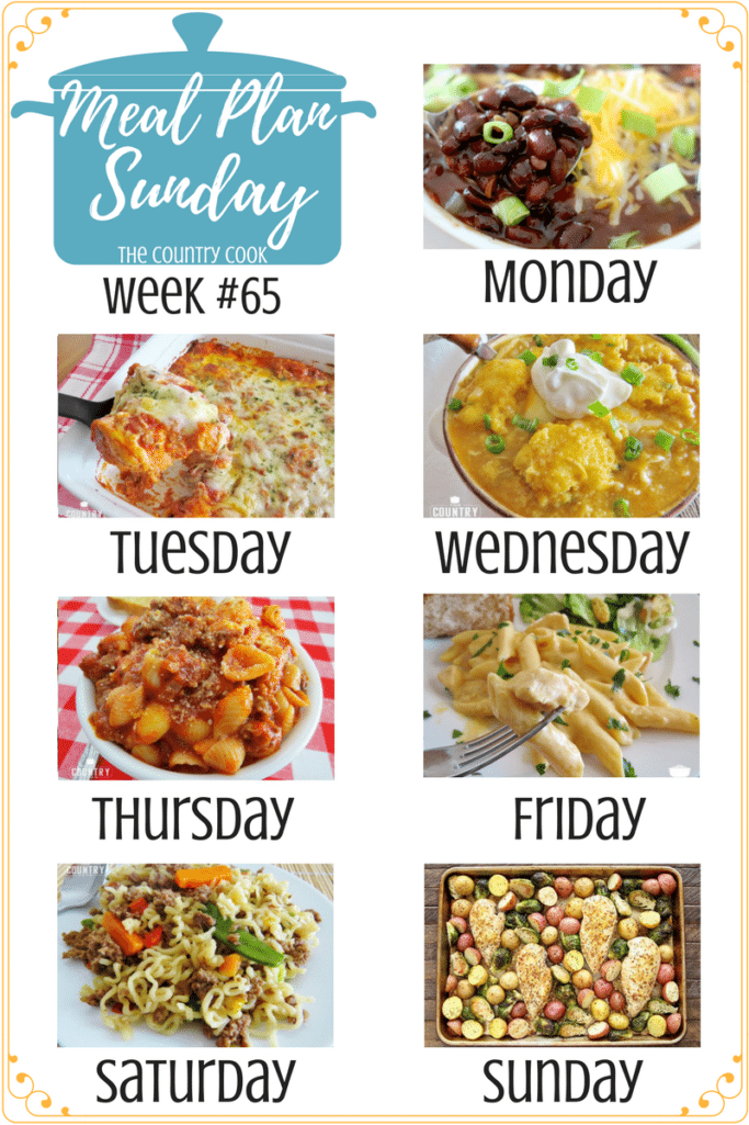 Meal Plan recipes include: Slow Cooker Black Bean Chili, Bubble Up Lasagna, White Chicken Chili with Cornbread Dumplings, Grandma's Goulash, Crock Pot Buffalo Chicken Pasta, Hamburger Ramen Noodle Skillet Supper, Sheet Pan Lemon Chicken, Strawberry Muffin Waffles, Crock Pot Pecan Pie, Frito Chili Pie and more! #mealplan #recipes #dinner #ideas #groundbeef #chicken #biscuits #easy #crockpot
