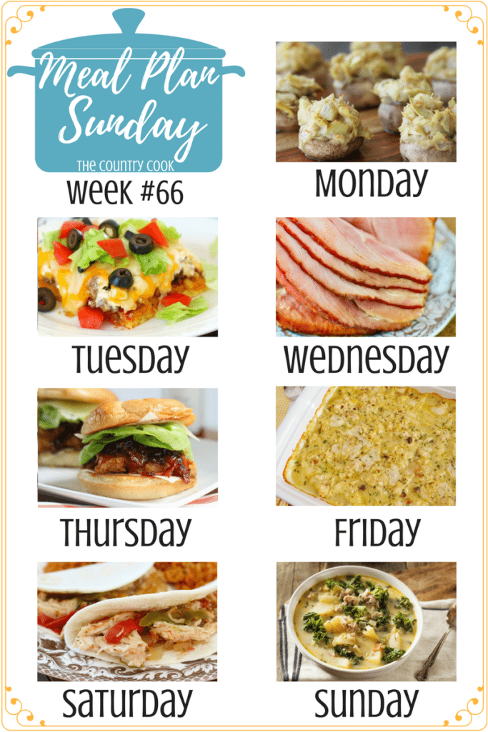 Meal Plan recipes include: Grilled Honey Lime Chicken Skewers, Caprese Cornbread, Artichoke Stuffed Mushrooms (meatless), Cornbread Taco Bake , Crock Pot Sweet Tea Glazed Ham, Jammin Honey Barbecue Chicken Sandwich, Chicken Dumplings Casserole, Crock Pot Chicken Fajitas, Copycat Olive Garden Zuppa Toscana #mealplan #recipes #ideas #dinner #easy #ideas #chicken #groundbeef