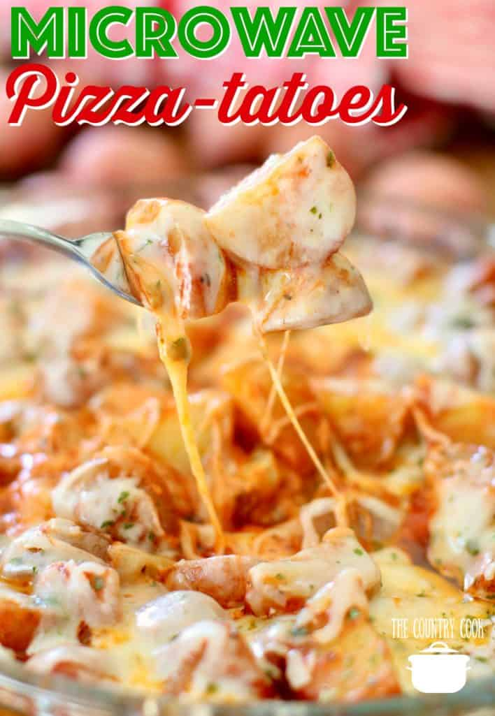 Microwave Pizza Potatoes recipe from The Country Cook