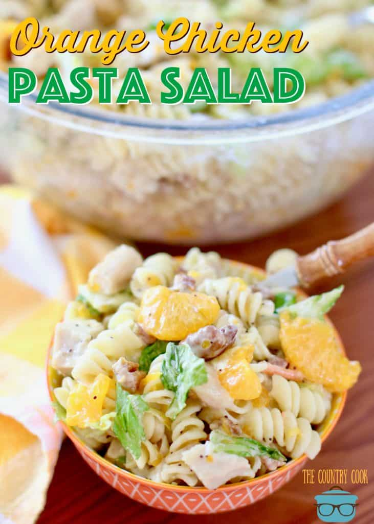 Orange Chicken Pasta Salad with Orange Poppyseed Dressing recipe from The Country Cook