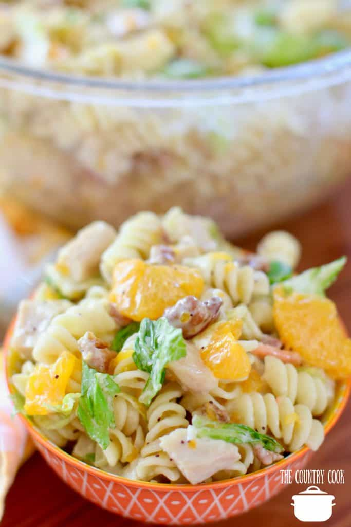 Mandarin Orange Chicken Pasta Salad served cold in a bowl