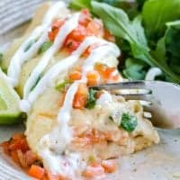 Shrimp Enchiladas with cream sauce and pico de gallo