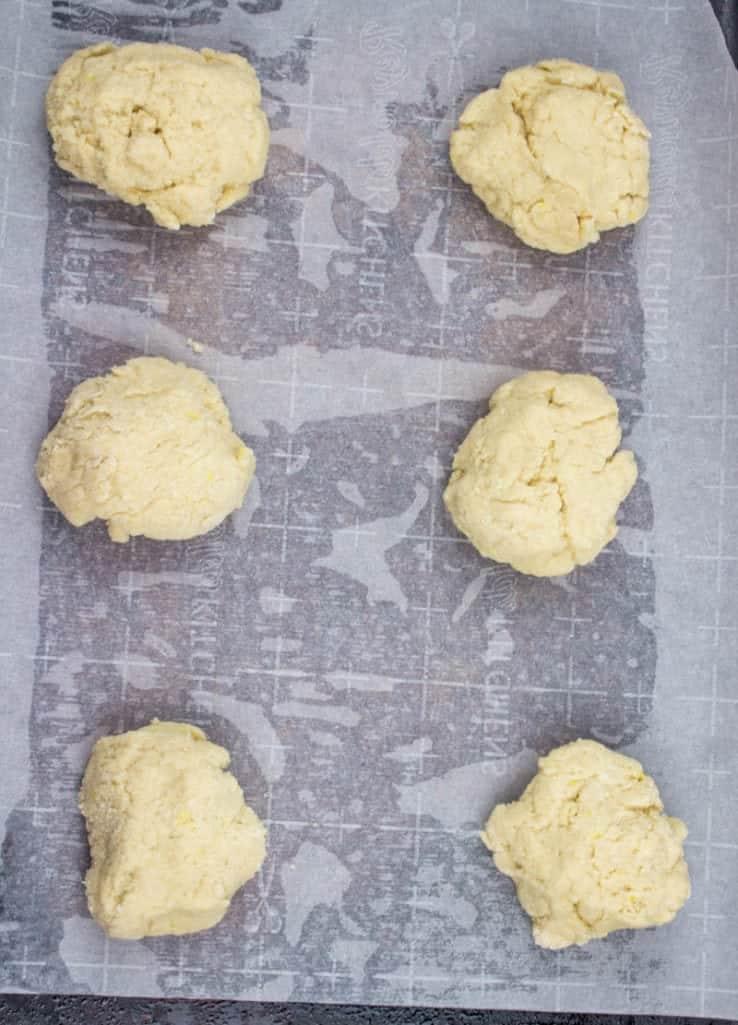 shortcake batter dropped onto a cookie sheet
