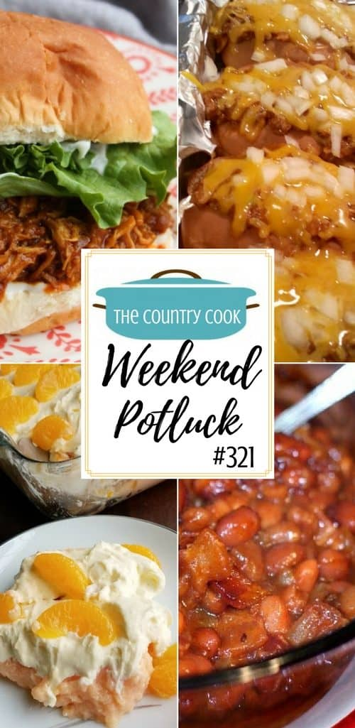 Featured recipes at Weekend Potluck include: Best Ever Baked Beans, Oven Baked Chili Dogs, Orange Creamsicle Jell-O Dessert, Crock Pot French Onion Sandwiches and Strawberry Shortcakes #dinner #recipes #ideas #desserts #easy