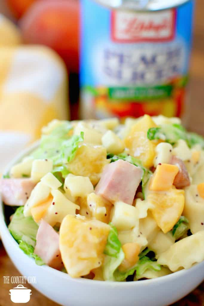 Tortellini, Ham, Lettuce and canned peaches Cheese Tortellini Pasta Salad