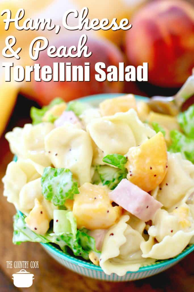 Ham, Cheese and Peach Tortellini Salad recipe from The Country Cook