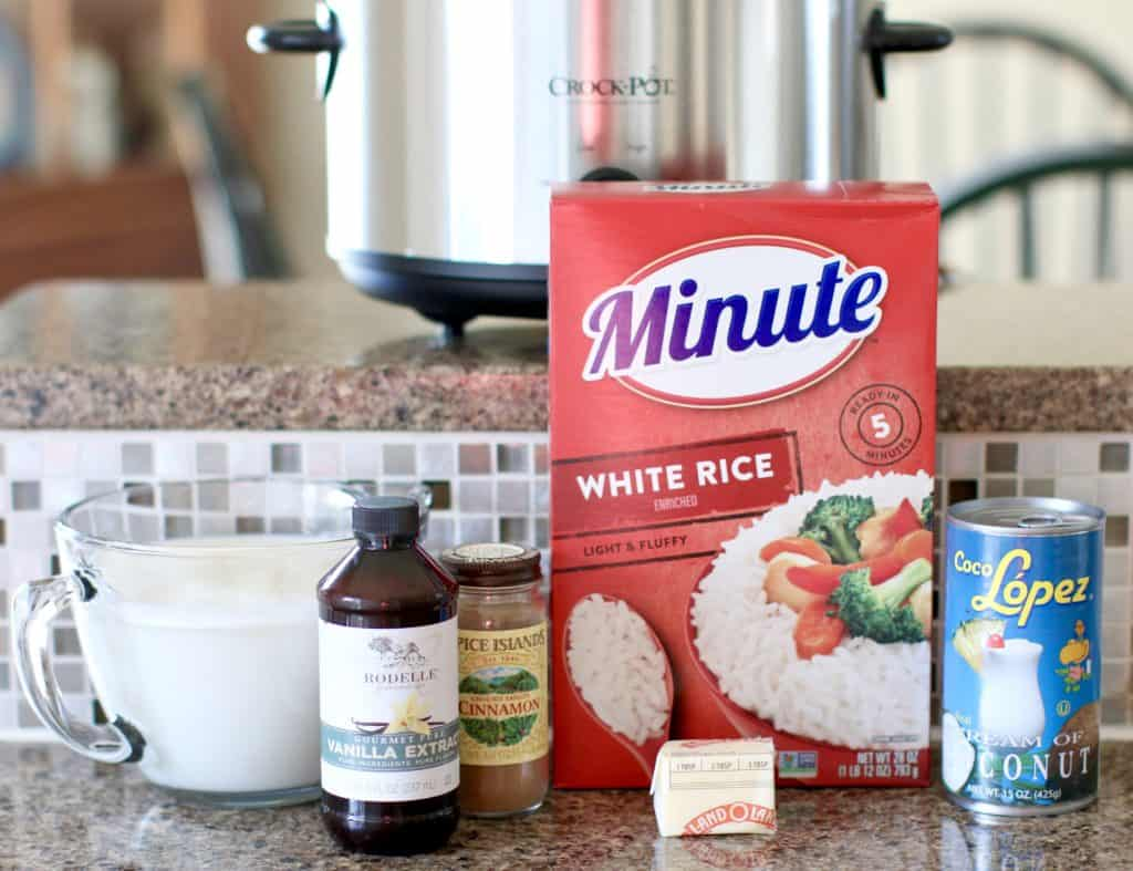 Instant Minute Rice, milk, vanilla extract, butter, cinnamon, cream of coconut
