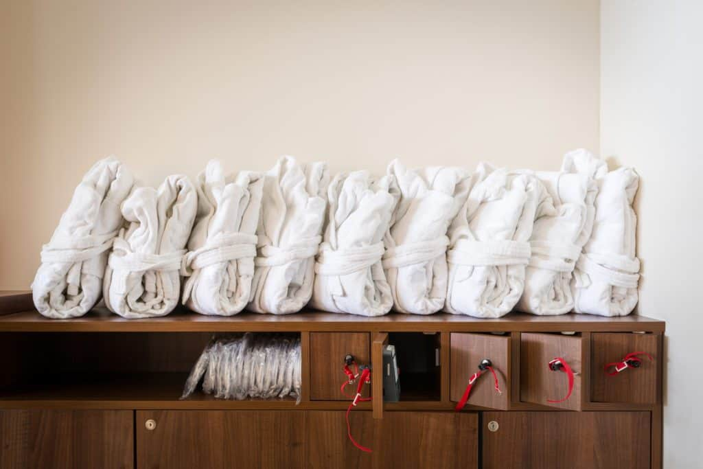 spa robes, folded