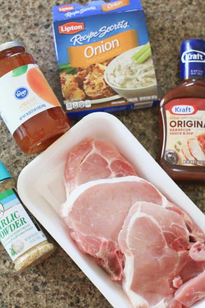 bone-in pork chops, barbecue sauce, apricot preserves onion soup mix, garlic powder