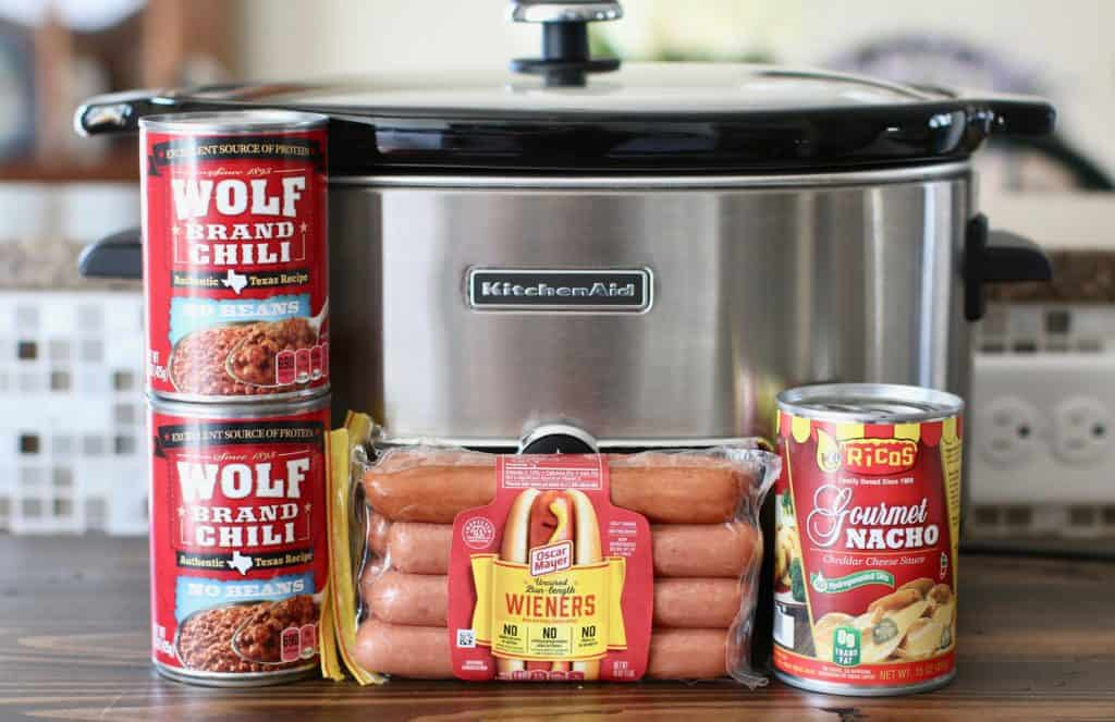 5-quart slow cooker, Oscar Meyer hot dogs, nacho cheese sauce, wolf brand chili (no beans)