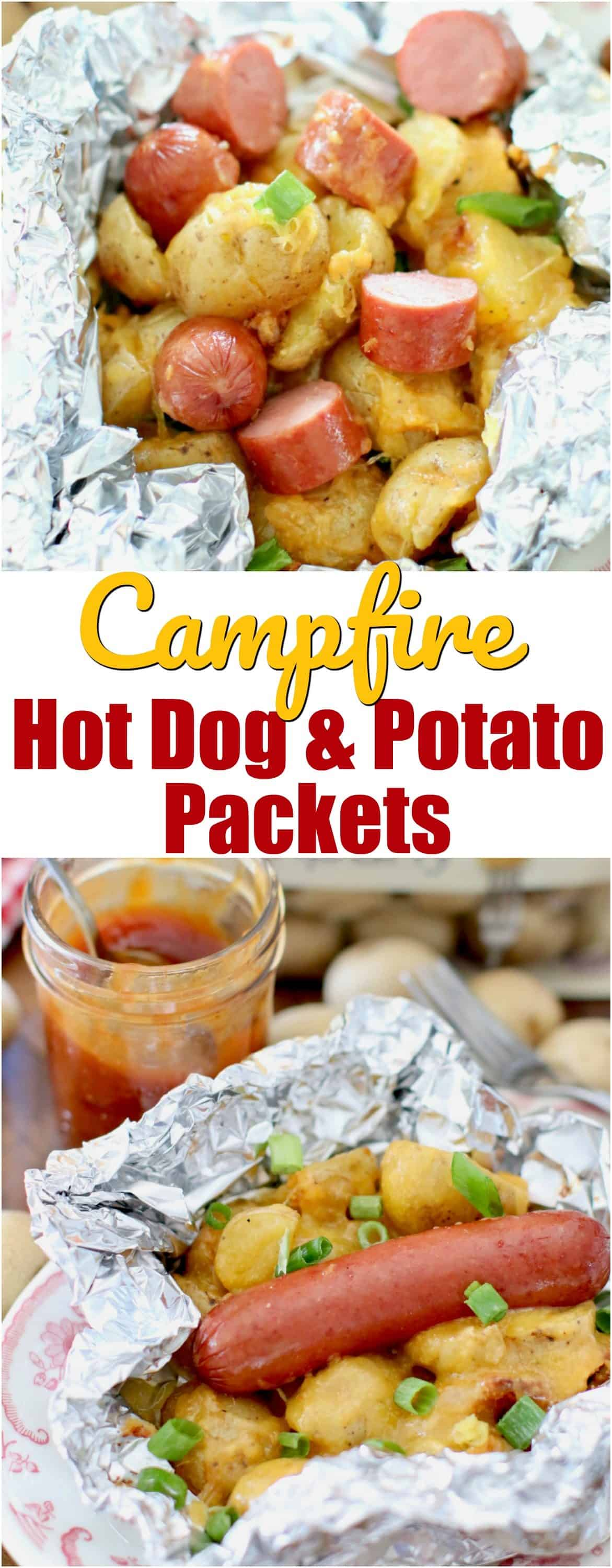 These Campfire Hot Dog Potato Packets are perfect for grilling! Hot dogs, potatoes, cheddar cheese, BBQ sauce and seasonings cooked in foil!