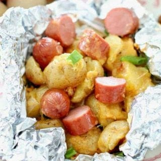 Campfire BBQ Hot Dog and Potato Foil Packets