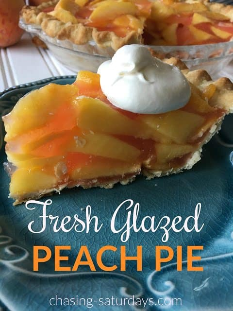Glazed Fresh Peach Pie from Chasing Saturdays
