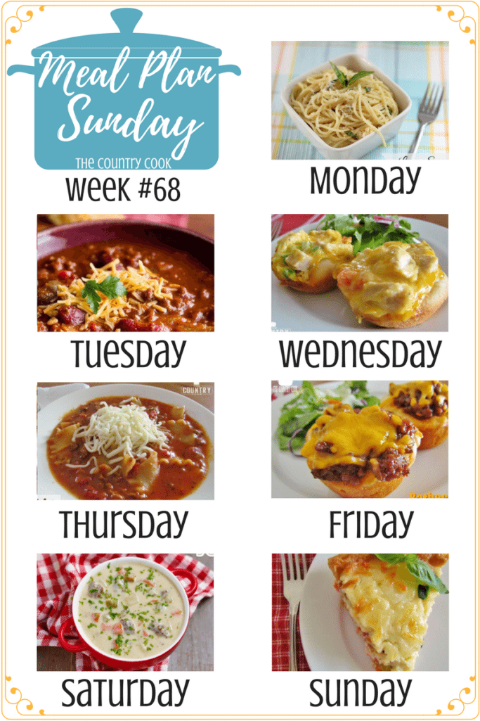 Meal Plan recipes include: Crock Pot Chili & Sweet Cornbread, Chicken Pot Pie Biscuit Cups, Lasagna Soup, BBQ Beef Biscuit Cups, Cheeseburger Soup, Country Tomato and Bacon Pie, Bacon Garlic Green Beans, Potato and Ham Salad, Mint Chocolate Chip Swirl Brownies #mealplan #recipes #easy #dinner #ideas #groundbeef #chicken #family #kidfriendly