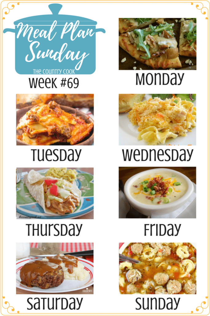Meal Plan Sunday recipes include: Pear, Blue Cheese & Walnut Flatbread, Baked Ravioli Casserole, Chicken Noodle Casserole, Slow Cooker Creamy Salsa Chicken, Crock Pot Loaded Baked Potato Soup, Hamburger Steaks and Gravy, Crock Pot Meatball and Tortellini Soup, Root Beer Baked Beans, 3-Ingredient Mexican Rice, Crock Pot Coconut Rice Pudding #mealplan #dinner #recipes #ideas #slowcooker #groundbeef #chicken #casseroles