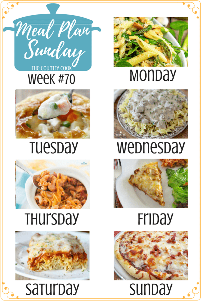 Meal Plan Sunday recipes include: Roasted Asparagus and Spinach Pasta Salad, Homemade Chicken Pot Pie, Ground Beef Stroganoff, Chili Macaroni, Layered Taco Bake, My Favorite Baked Spaghetti, BBQ Chicken Pizza, Hobo Packets and Cherry 7-Up Fluff! #mealplan #recipes #dinner #ideas #easy #family #groundbeef #chicken #meatless