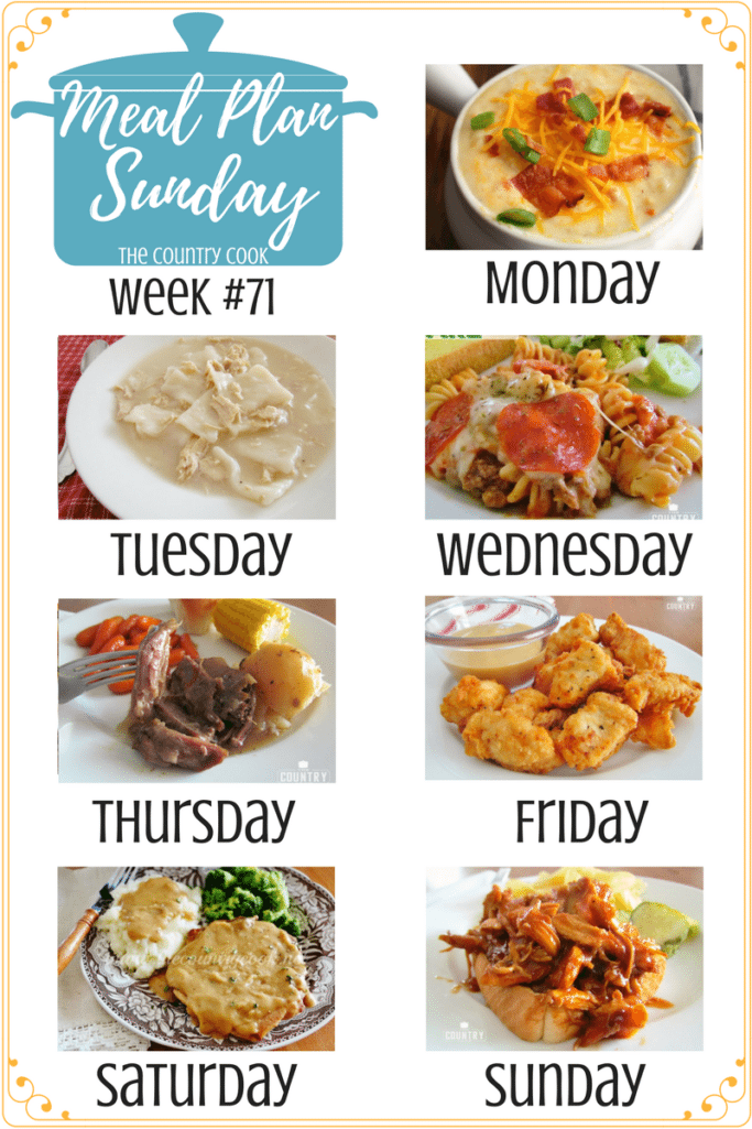 Meal Plan Sunday recipes include: Crock Pot Laded Hash Brown Soup, My Favorite Chicken and Dumplings, Crock Pot Shredded BBQ Chicken, Copycat Chick-fil-A Chicken Nuggets, Pizza Pasta Bake, Crock Pot 3-Packet Pot Roast, Crock Pot Smothered Pork Chops, Steakhouse Rolls #mealplan #recipes #ideas #dinner #kidfriendly #familyfriendly #easy #chicken #groundbeef #potroast #porkchops #pork #pasta #soup #dumplings