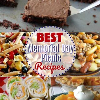 26 of the best recipes to make for a Memorial Day Picnic! Pasta Salad, Baked Beans, Texas Sheet Cake, Fresh Peach Pie, Turkey Pinwheels, Shells and Cheese, Potato Salad, Blackberry Cobbler, Apple Salad, 7-Layer Dip and more!
