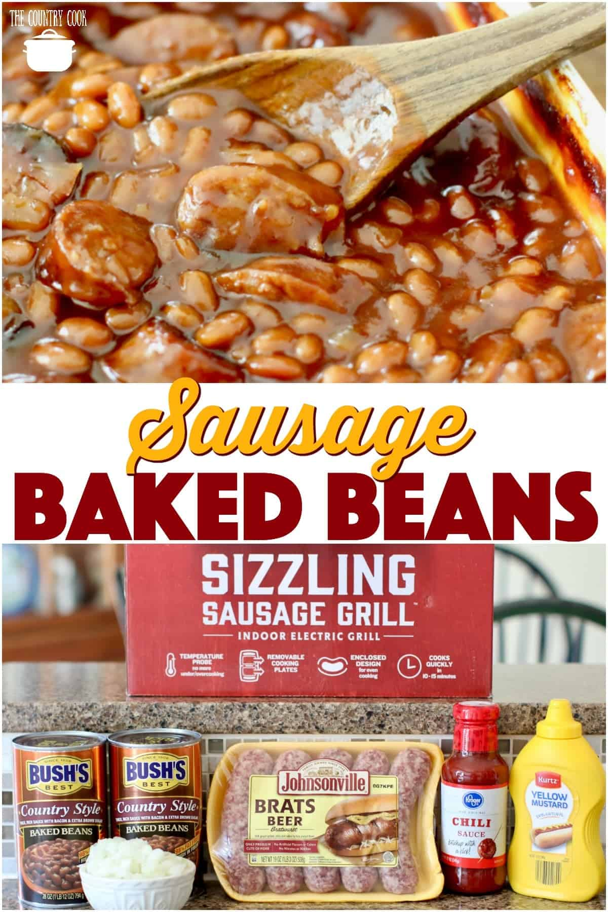 Easy Sausage Baked Beans recipe from The Country Cook #sidedish #beans #sausage #bakedbeans #cookout #bbq #barbecue #recipes #ideas