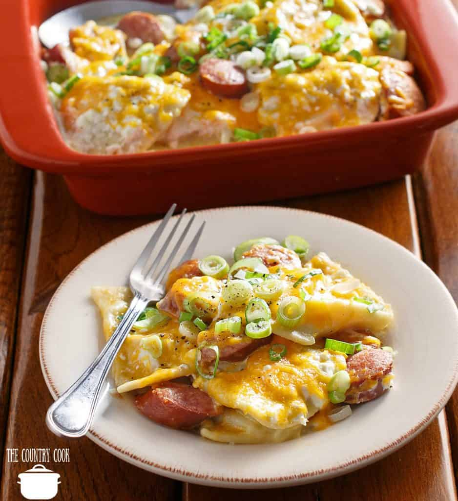 Slow Cooker Frozen Pierogi and Smoked Kielbasa, Cheese Casserole recipe