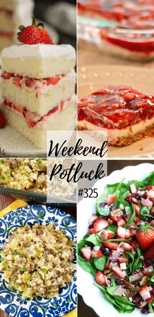 Featured recipes at Weekend Potluck include: Strawberry Pretzel Salad, Strawberry Cream Cake, Hamburger Rice Casserole and Spinach Strawberry Salad. #recipes #mealplan #dinner #ideas #strawberry #strawberries #desserts #cake #pretzel #rice #salad