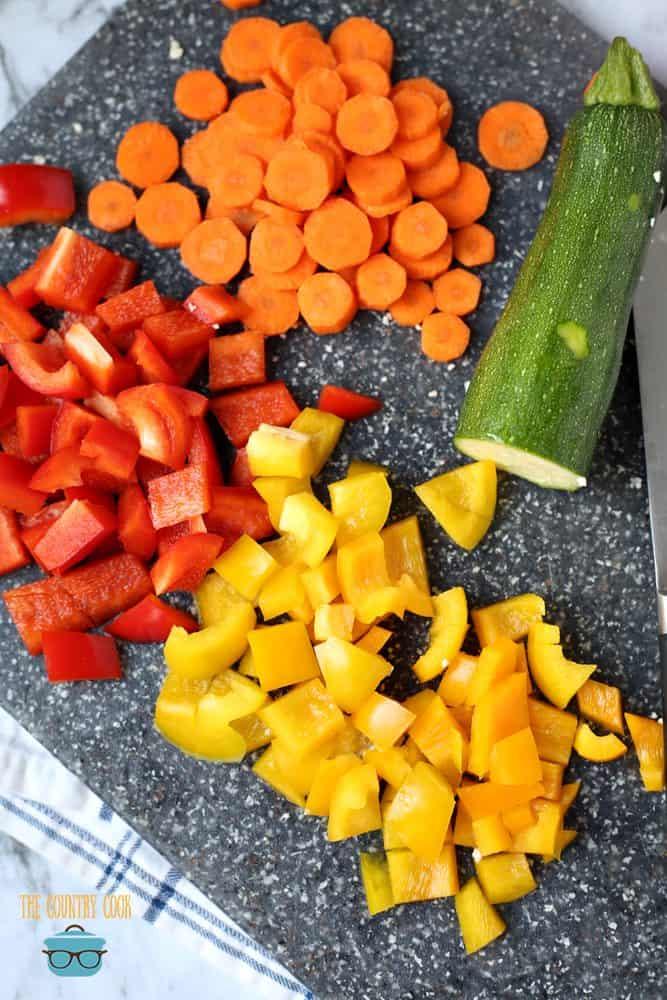 cauliflower-rice-stir-fry-chopped-veggies peppers, zucchini, carrots, onion, broccoli