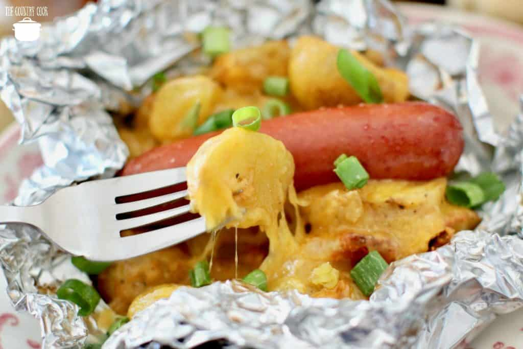 cheesy potato foil packets with hot dogs or sausage
