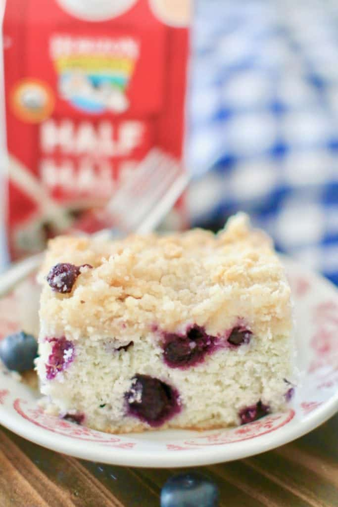 Blueberry Buckle Coffee Cake, slice on a plate