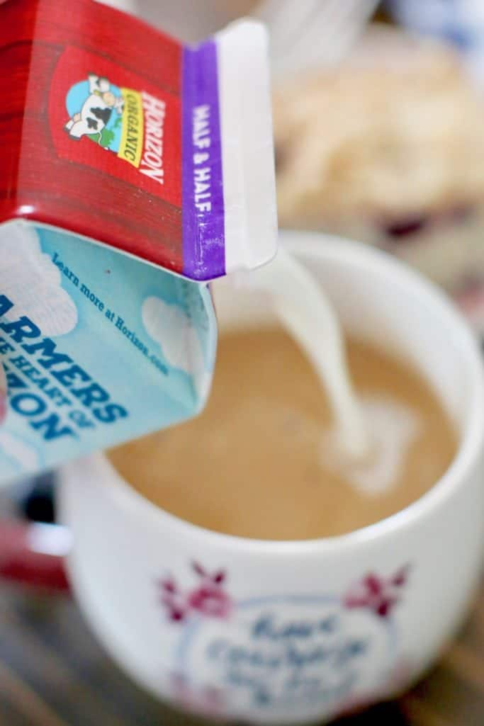 Horizon Organic creamer into coffee mug