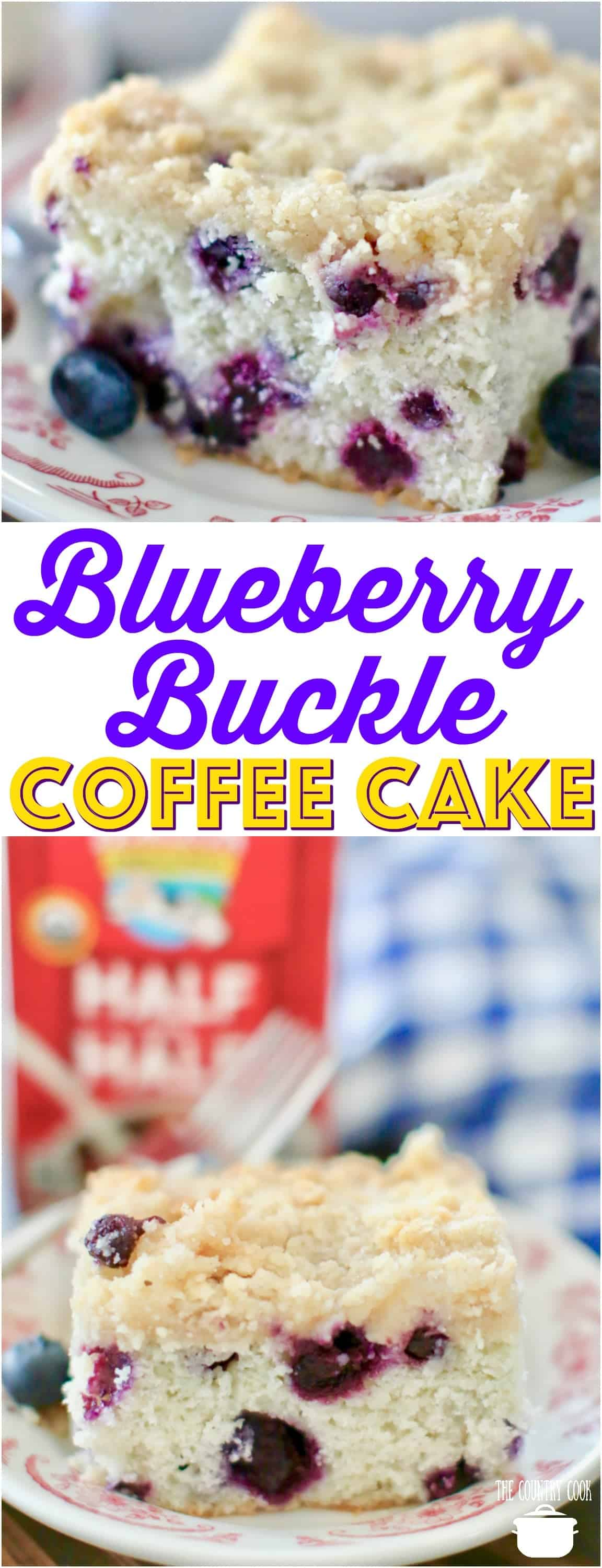 Easy Homemade Blueberry Buckle Coffee Cake recipe from The Country Cook #ad #springcoffee #cake #snackcake #blueberry #blueberries #cakes #recipes #ideas #crumble #streusel