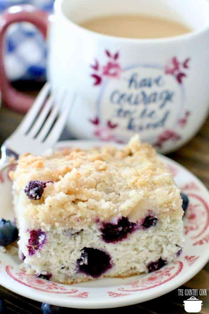 Blueberry Buckle Coffee Cake with coffee
