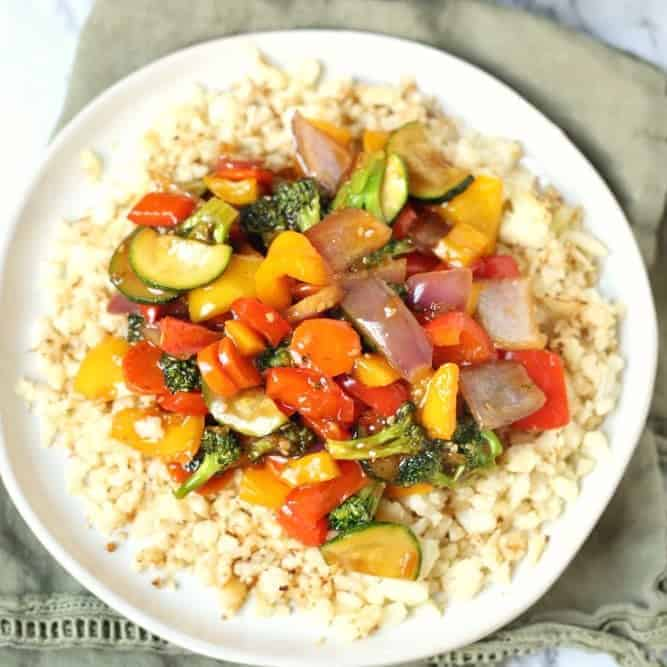 Low Carb Cauliflower Rice Vegetarian Stir Fry