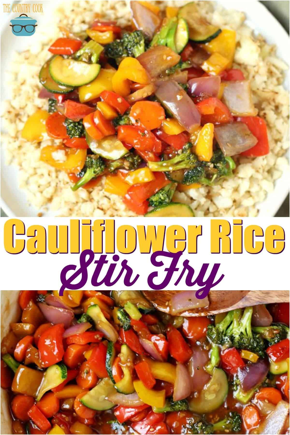 This vegetarian Cauliflower Rice Stir Fry is a low carb recipe made with a homemade sauce. Full of carrots, peppers, zucchini and onion!