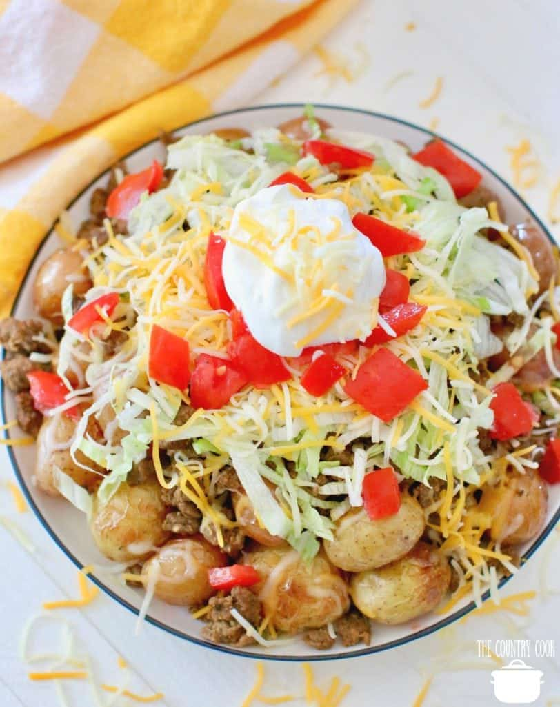 Easy Grilled Taco Topped Potatoes recipe