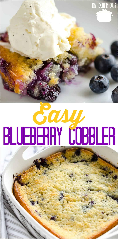 Easy Homemade Blueberry Cobbler recipe from The Country Cook #homemade #blueberry #cobbler #dessert #desserts #recipes #ideas #easy