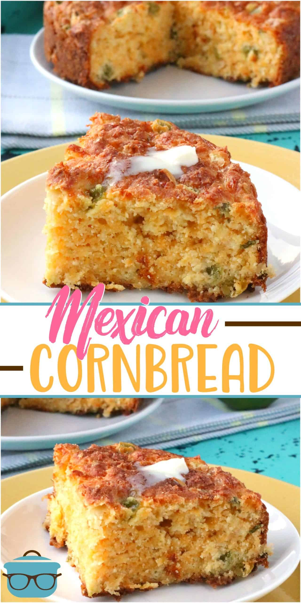 Mexican-Style Cornbread is an easy homemade recipe made with cornmeal, flour, cheddar cheese, cream corn, green onions, and peppers!